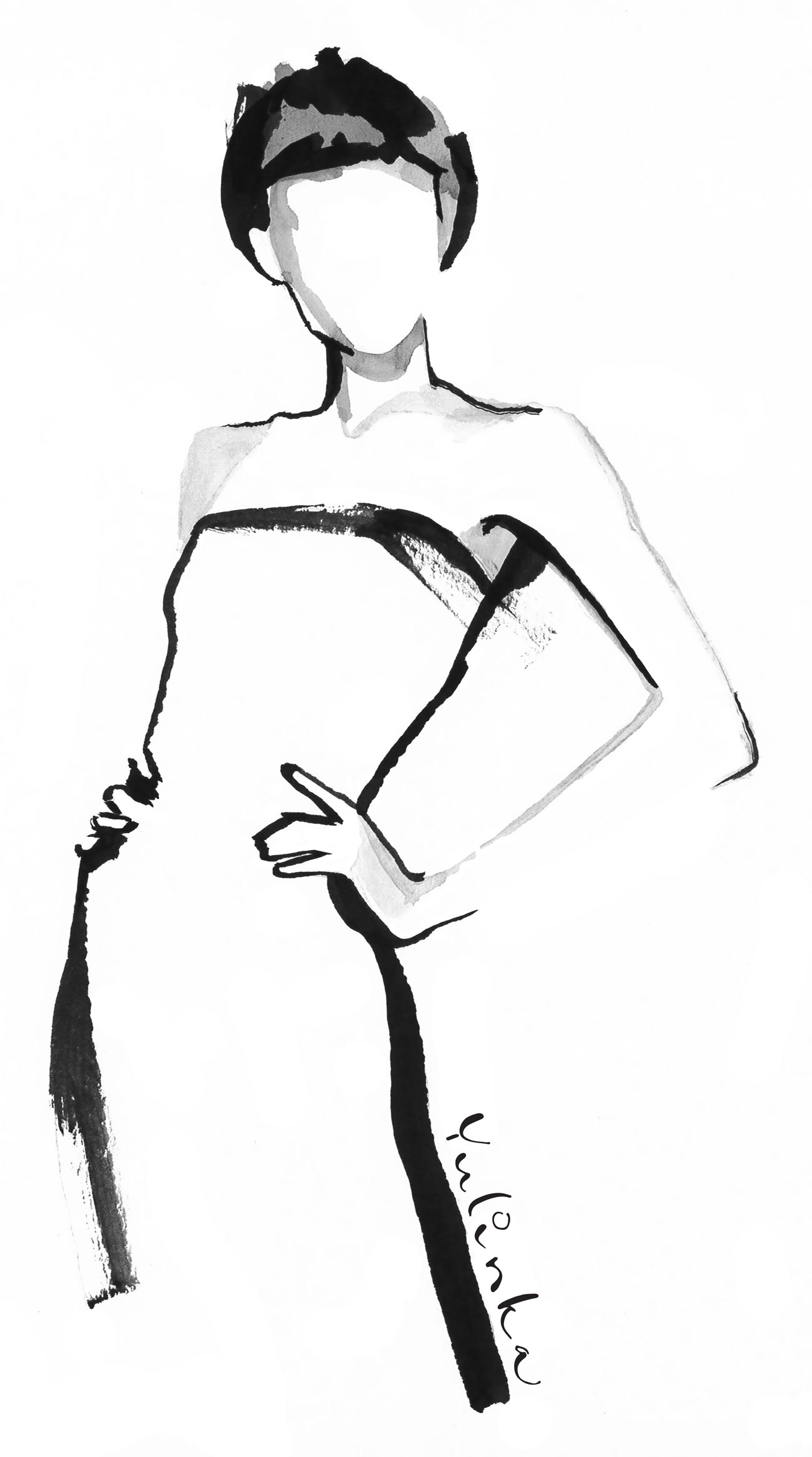 Wolford Fatal Dress Illustration